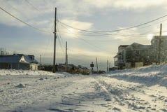 Γειτονιά παραλιών στα ίχνη της χιονοθύελλας στοκ φωτογραφία με δικαίωμα ελεύθερης χρήσης