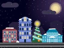 Γειτονιά Χριστουγέννων νύχτας Στοκ Εικόνες