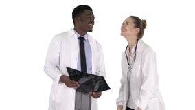 Γελώντας γιατροί που μελετούν την ακτίνα X στο άσπρο υπόβαθρο φιλμ μικρού μήκους