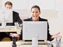 γελώντας μηνύτορας επιχ&epsilo στοκ φωτογραφία με δικαίωμα ελεύθερης χρήσης