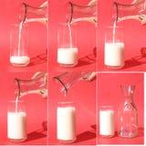 γεμίζοντας γάλα γυαλιού Στοκ Φωτογραφίες