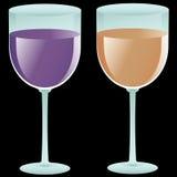 γεμισμένα γυαλιά δύο κρασί Στοκ εικόνες με δικαίωμα ελεύθερης χρήσης