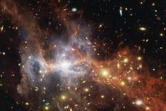 Γεμισμένα κόσμος αστέρια, νεφέλωμα και γαλαξίας Κοσμική τέχνη, ταπετσαρία επιστημονικής φαντασίας στοκ εικόνες