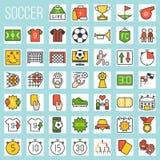 Γεμισμένα ποδόσφαιρο εικονίδια καθορισμένα απεικόνιση αποθεμάτων