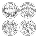 Γεμισμένοι Doodles κύκλοι καθορισμένοι ελεύθερη απεικόνιση δικαιώματος