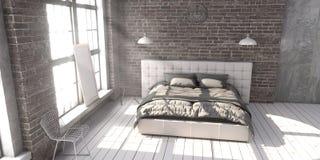 Γεμισμένο κρεβάτι μεγέθους βασιλιάδων στην κρεβατοκάμαρα ύφους σοφιτών στοκ φωτογραφίες με δικαίωμα ελεύθερης χρήσης