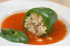 Γεμισμένο πράσινο πιπέρι με το ρύζι Στοκ Εικόνες