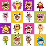 Γενέθλια άνευ ραφής με τα παιδιά στο ζωικό κοστούμι Στοκ εικόνες με δικαίωμα ελεύθερης χρήσης