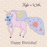 γενέθλια ευτυχή Ευχετήρια κάρτα με το μονόκερο διανυσματική απεικόνιση