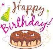γενέθλια ευτυχή Κέικ γενεθλίων σοκολάτας Στοκ εικόνα με δικαίωμα ελεύθερης χρήσης