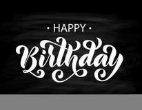 γενέθλια ευτυχή Συρμένη χέρι γράφοντας κάρτα Σύγχρονη καλλιγραφία βουρτσών Διανυσματικό άσπρο κείμενο στο μαύρο υπόβαθρο ελεύθερη απεικόνιση δικαιώματος