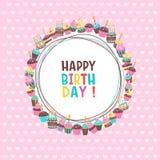 γενέθλια ευτυχή Τα κέικ και οι ζύμες Στοκ Εικόνα