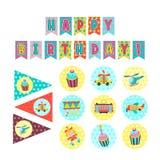 γενέθλια ευτυχή Τα κέικ και οι ζύμες Στοκ εικόνες με δικαίωμα ελεύθερης χρήσης