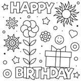 γενέθλια ευτυχή Χρωματίζοντας σελίδα Γραπτή διανυσματική απεικόνιση στοκ φωτογραφία με δικαίωμα ελεύθερης χρήσης