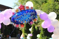 γενέθλια μπαλονιών ευτυ Στοκ φωτογραφία με δικαίωμα ελεύθερης χρήσης