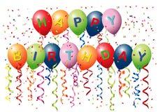 γενέθλια μπαλονιών ευτυ διανυσματική απεικόνιση