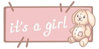 Γενέθλια μωρών, πρόσκληση ή ευχετήρια κάρτα, αφίσα, πρότυπο Χαριτωμένες διανυσματικές απεικονίσεις με νέο - γεννημένο παιχνίδι μω απεικόνιση αποθεμάτων