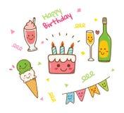 Γενέθλια ύφους Kawaii doodle που απομονώνονται στο άσπρο υπόβαθρο ελεύθερη απεικόνιση δικαιώματος