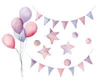 Γενέθλια Watercolor που τίθενται με τα στοιχεία κρητιδογραφιών Το χέρι χρωμάτισε τα μπαλόνια αέρα, τις γιρλάντες σημαιών, τα αστέ Στοκ εικόνα με δικαίωμα ελεύθερης χρήσης