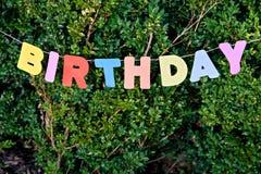 Γενέθλια λέξης που τοποθετούνται στο πράσινο δέντρο Στοκ Φωτογραφίες