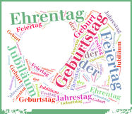 Γενέθλια ή έννοια σύννεφων Geburtstag Word Στοκ φωτογραφία με δικαίωμα ελεύθερης χρήσης