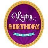 γενέθλια ευτυχή Κάρτα διακοπών για τη γιορτή γενεθλίων ημέρας Εγγραφή χεριών Υπόβαθρο τσίρκων σε ένα αναδρομικό πλαίσιο με τα φω' Στοκ Εικόνες