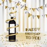γενέθλια ευτυχή Υπόβαθρο με το μπουκάλι του κρασιού και των κορδελλών απεικόνιση αποθεμάτων