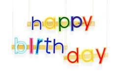 γενέθλια ευτυχή Φωτεινές πολυ χρωματισμένες χρωματισμένες επιστολές πέρα από το λευκό Στοκ Φωτογραφία
