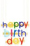 γενέθλια ευτυχή Φωτεινές πολυ χρωματισμένες χρωματισμένες επιστολές στο λευκό Στοκ φωτογραφία με δικαίωμα ελεύθερης χρήσης