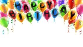 γενέθλια μπαλονιών ευτυχή Στοκ Εικόνες