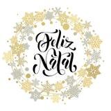 Γενέθλια, πορτογαλική ευχετήρια κάρτα κειμένων Χαρούμενα Χριστούγεννας Feliz απεικόνιση αποθεμάτων