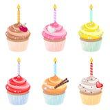 Γενέθλια cupcakes Στοκ Εικόνες