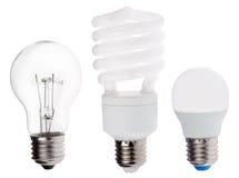 Γενεά τρία των ηλεκτρικών λαμπτήρων που απομονώνεται στο λευκό Στοκ Εικόνα