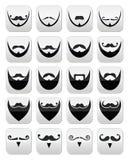 Γενειάδα με το moustache ή mustache εικονίδια καθορισμένα Στοκ Εικόνες
