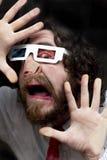 Γενειοφόρα τρισδιάστατα γυαλιά ατόμων Στοκ Φωτογραφία