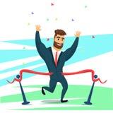 Γενειοφόρος επιχειρηματίας χαρακτήρα διασκέδασης που τελειώνουν πρώτα διανυσματική απεικόνιση
