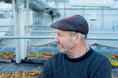 Γενειοφόρος ηληκιωμένος στην επίπεδη ΚΑΠ που κοιτάζει μακριά Στοκ φωτογραφίες με δικαίωμα ελεύθερης χρήσης