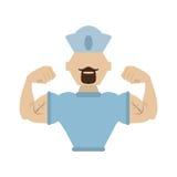 γενειοφόρος ΚΑΠ ναυτικών ναυτικός μυϊκός ατόμων διανυσματική απεικόνιση