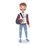 Γενειοφόρος νεαρός άνδρας που φορά το σακάκι μπέιζ-μπώλ που στέκεται με τη διανυσματική απεικόνιση χαρακτήρα κινουμένων σχεδίων σ Στοκ φωτογραφία με δικαίωμα ελεύθερης χρήσης