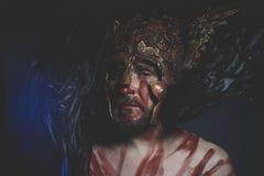 Γενειοφόρος πολεμιστής ατόμων με το κράνος μετάλλων και την ασπίδα, άγριος Βίκινγκ Στοκ φωτογραφία με δικαίωμα ελεύθερης χρήσης