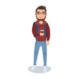 Γενειοφόρος τύπος σε ένα hoodie που στέκεται με ένα φλιτζάνι του καφέ στη διανυσματική απεικόνιση χαρακτήρα κινουμένων σχεδίων χε Στοκ Εικόνες