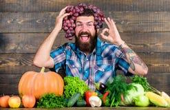 Γενειοφόρος τύπος της Farmer τα homegrown σταφύλια συγκομιδών που τίθενται με στο κεφάλι Farmer υπερήφανη της φρέσκιας οργανικής  στοκ φωτογραφία