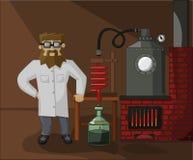 Γενειοφόρος φαρμακοποιός στο εργαστηριακό υπόβαθρο Στοκ Φωτογραφία