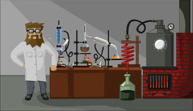Γενειοφόρος φαρμακοποιός στο εργαστηριακό υπόβαθρο Στοκ Εικόνες