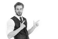 Γενειοφόρο άτομο ή βέβαιος κύριος στο γιλέκο και το δεσμό Στοκ φωτογραφίες με δικαίωμα ελεύθερης χρήσης