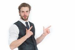 Γενειοφόρο άτομο ή βέβαιος κύριος στο γιλέκο και το δεσμό Στοκ Φωτογραφίες