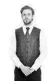 Γενειοφόρο άτομο ή σοβαρός κύριος στο γιλέκο και το δεσμό Στοκ φωτογραφίες με δικαίωμα ελεύθερης χρήσης