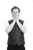 Γενειοφόρο άτομο ή φωνάζοντας κύριος στο γιλέκο και το δεσμό Στοκ Φωτογραφίες