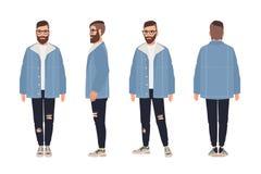 Γενειοφόρο άτομο που φορά τα γυαλιά, το σακάκι και τα τζιν Τύπος Hipster που ντύνεται στα μοντέρνα ενδύματα Αρσενικός χαρακτήρας  ελεύθερη απεικόνιση δικαιώματος