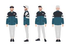 Γενειοφόρο άτομο που φορά το σακάκι και την ΚΑΠ Το αγόρι έντυσε στα μοντέρνα περιστασιακά ενδύματα Χαρακτήρας κινουμένων σχεδίων  ελεύθερη απεικόνιση δικαιώματος